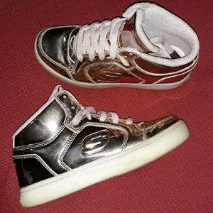 Metallic Pink Gold Skechers Shiney Sneakers Girls